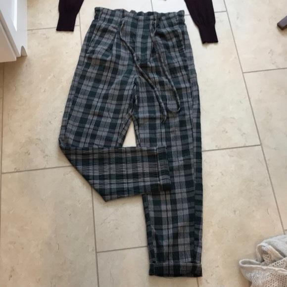 Free People Pants Jumpsuits Vintage High Waisted Plaid Pants Poshmark